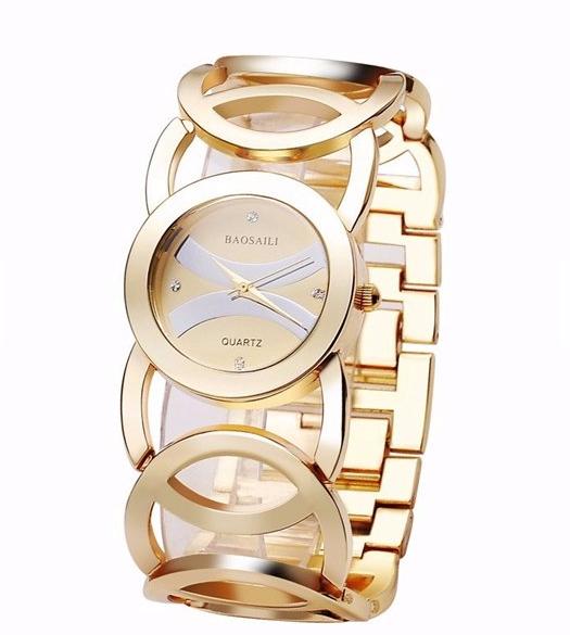 BAOSAILI Fashion Luxury Crystal Gold Color Dress Wristwatch For Women Ladies Quartz Watch
