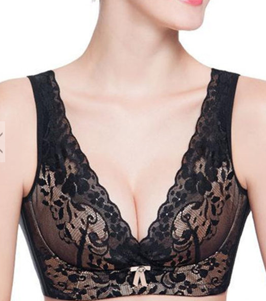 B-F Cup Plus Size Luxurious Floral Lace Wireless Adjustment Beauty Back Yoga Sleeping Bras