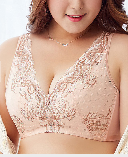 B-E Cup Sexy Luxury Deep V Flower Lace Embroidery Comfy Lightly Lined Wire Free U Back Push Up Bras