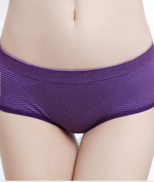 Women Comfort Striped Pattern Seamless Lycra Cotton Breathable Hips Up Low Rise Panties Briefs
