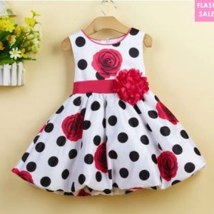 Flower Prints Polka Dots Bowknot Decorated Zipper Back Dress