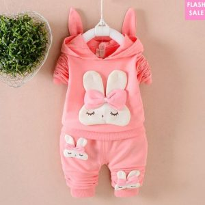 Cartoon Bunny Pattern Hooded Set