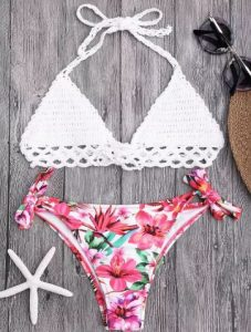 Bralette Crochet Top And Floral Tied Bikini Bottoms