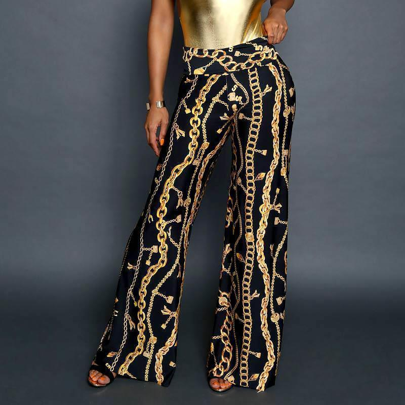 Fashion Elegant Chain Digital Printing Pants
