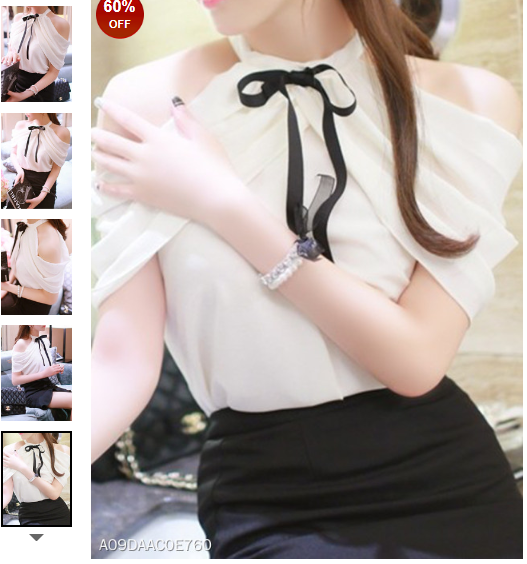 Open Shoulder Bow Plain Sleeveless T-Shirts